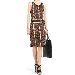 BCBG MaxAzria brown snake print midi dress.